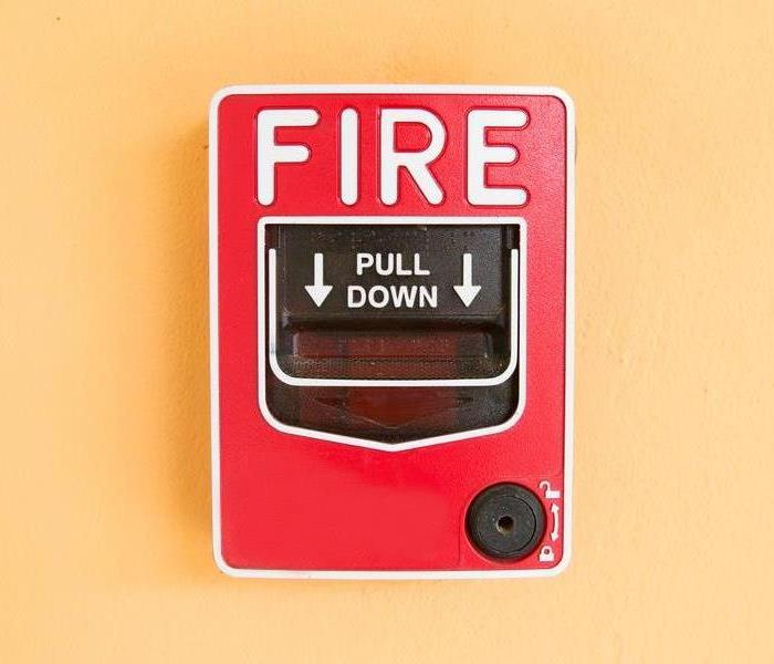 Fire alarm on wall.