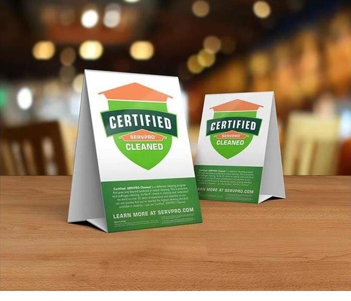 Certified: SERVPRO Cleaned Place Cards